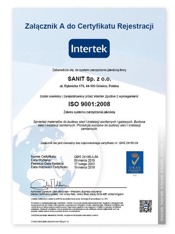 e-certificate QMS SANIT A PL
