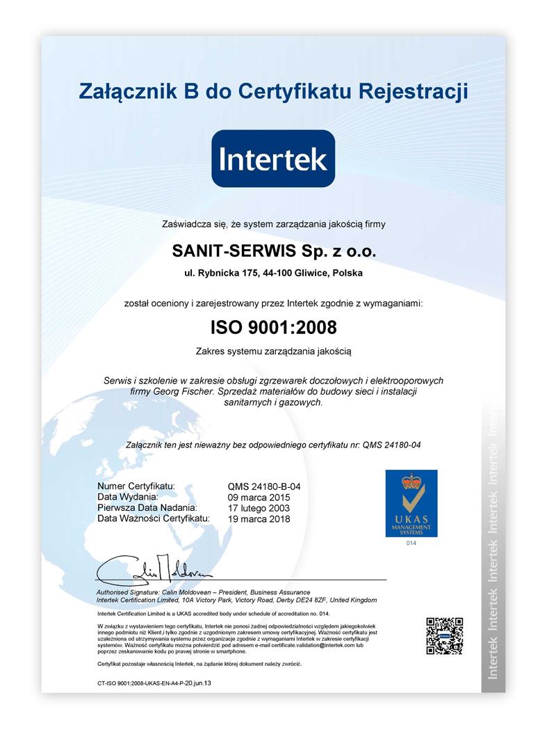 e-certificate QMS SANIT Serwis B PL